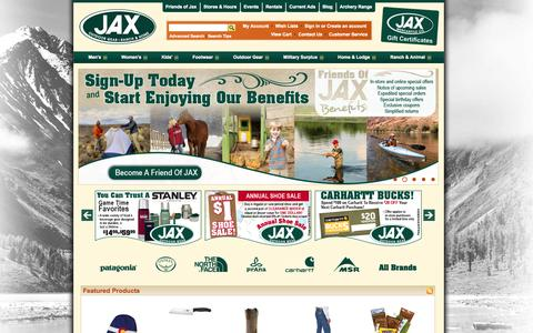 Screenshot of Home Page jaxmercantile.com - Jax Mercantile: Jax Outdoor Gear - Jax Ranch & Home | Gear | Surplus | Clothing | Footwear - captured Sept. 23, 2014