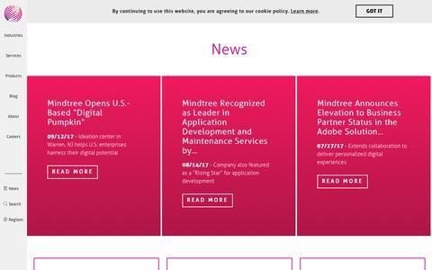 Screenshot of Press Page mindtree.com - Mindtree News | Latest announcements and press - captured Dec. 7, 2017