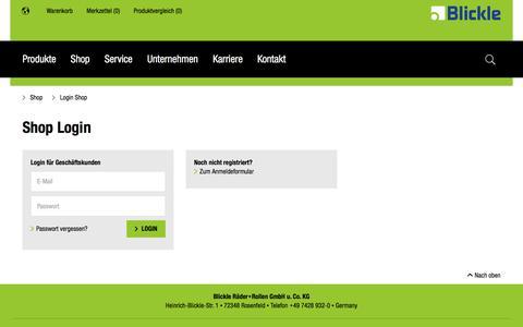 Screenshot of Login Page blickle.de - Online Shop Login | Blickle - captured Jan. 21, 2017