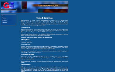 Screenshot of Terms Page gzintlinc.com - Terms & Conditions - G&Z International, Inc. USA - captured Oct. 1, 2014