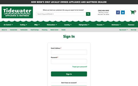 Screenshot of Login Page tidewaterappliance.com - Home Appliances, Mattresses, Bedding, Accessories in New Bern, Oriental and Morehead City NC | Tidewater Appliance - captured Oct. 19, 2018