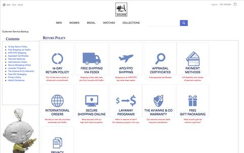 Screenshot of Privacy Page Support Page avianneandco.com - Customer Service | AvianneAndCo.Com - captured Oct. 28, 2017