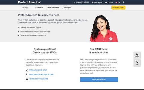 Screenshot of Support Page protectamerica.com - Customer Service and Support   Protect America - captured Sept. 23, 2017