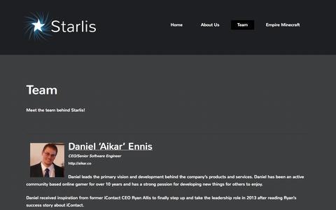 Screenshot of Team Page starlis.com - Team - Starlis - captured Sept. 30, 2014