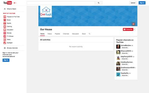 Screenshot of YouTube Page youtube.com - Our House  - YouTube - captured Nov. 3, 2014