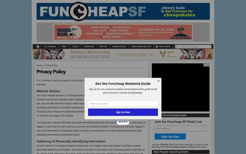 Screenshot of Privacy Page funcheap.com - Privacy Policy - captured Oct. 11, 2018