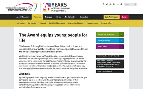 Screenshot of About Page intaward.org - The Award equips young people for life | The Duke of Edinburgh's International Award - captured Dec. 14, 2016