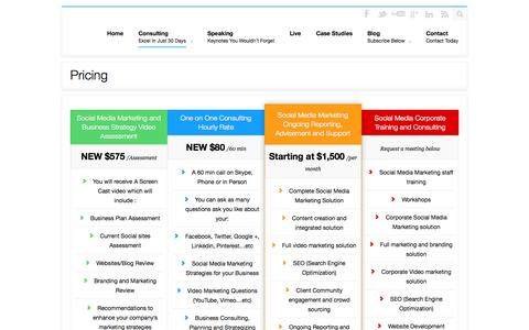 Screenshot of Pricing Page knssconsulting.com - KNSS Consulting Group Consulting Pricing - captured Oct. 6, 2014