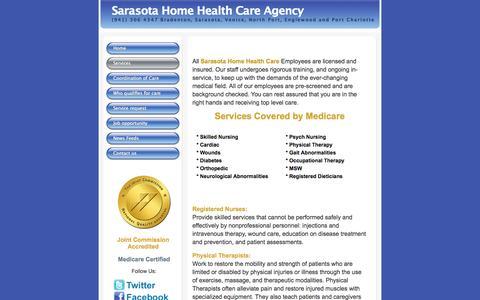 Screenshot of Services Page sarasotahomehealthcare.com - Sarasota Home Care - Services - captured Oct. 4, 2014