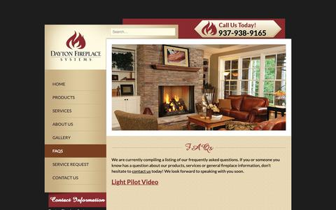 Screenshot of FAQ Page daytonfireplace.com - Dayton Fireplace Systems | Frequently Asked Questions - captured Sept. 25, 2018