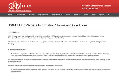 Screenshot of Terms Page oandmit.co.uk - Terms & Conditions - captured Oct. 1, 2018
