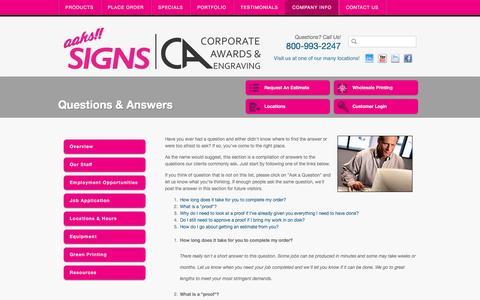 Screenshot of FAQ Page aahssigns.com - Aahs Signs Los Angeles California Sign Company, LA Digital Graphics, CA - captured Feb. 5, 2016