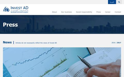 Screenshot of Press Page investad.com - Press | Invest AD - captured June 8, 2017