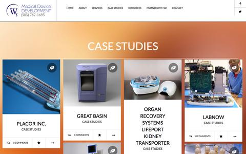 Screenshot of Case Studies Page wiinc.net - Case Studies Archives - Wi Medical Device Development - captured Dec. 22, 2016