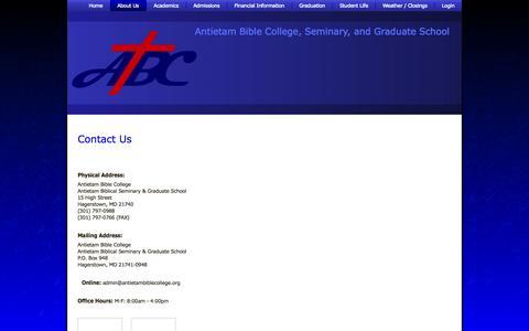 Screenshot of Contact Page antietambiblecollege.org - Contact Us | Antietam Bible College, Seminary, and Graduate School - captured Sept. 30, 2014