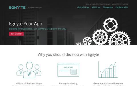 Screenshot of Developers Page egnyte.com - Egnyte for Developers - Home - captured Sept. 15, 2014