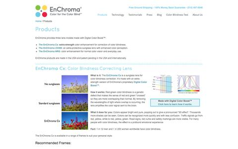 Screenshot of Products Page enchroma.com - Products | EnChroma - captured Sept. 16, 2014
