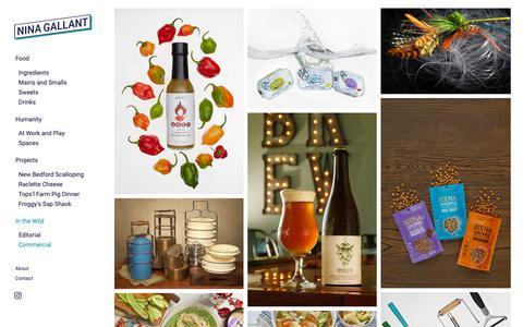 Screenshot of Products Page ninagallant.com - Commercial — Nina Gallant Photography - captured Oct. 18, 2018