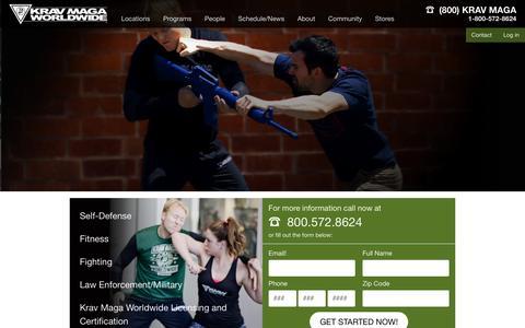 Screenshot of Home Page kravmaga.com - Learn Krav Maga | Leader in Self-Defense Classes & Fitness - captured Nov. 15, 2018