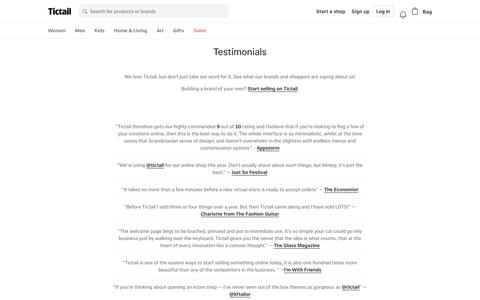 Screenshot of Testimonials Page tictail.com - Testimonials • Tictail - captured May 26, 2018