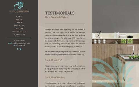 Screenshot of Testimonials Page formosakitchens.co.uk - Testimonials | Formosa Kitchens - captured Oct. 10, 2018