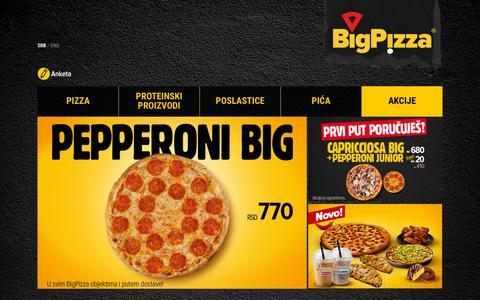 Screenshot of Home Page bigpizza.rs - BigPizza   BigCity - captured Sept. 17, 2015