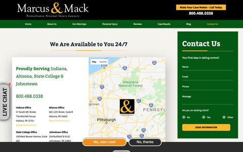 Screenshot of Contact Page marcusandmack.com - Contact Marcus & Mack | Personal Injury Lawyers in Pennsylvania - captured Oct. 2, 2018