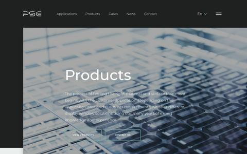 Screenshot of Products Page psc.dk - Products - captured Sept. 26, 2018