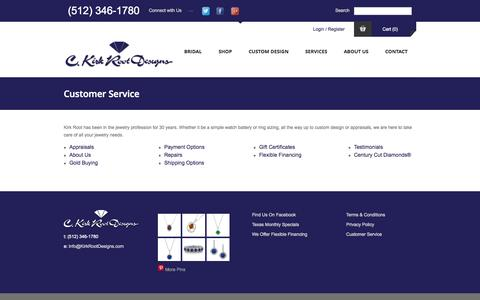 Screenshot of Support Page kirkrootdesigns.com - Customer Service - C. Kirk Root Designs - captured Nov. 1, 2014