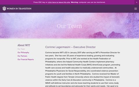 Screenshot of Team Page helpwomen.org - Our Team — Women In Transition - captured Nov. 18, 2018