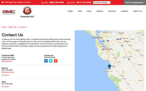 Screenshot of Contact Page Maps & Directions Page cardinalegmc.com - Contact Cardinale GMC in Seaside California - captured Feb. 18, 2018