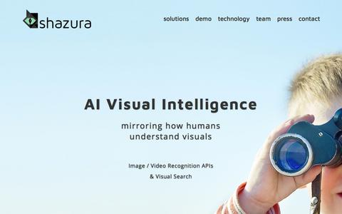 Screenshot of Home Page shazura.com - Image Recognition APIs & Visual Search Results | Shazura - captured Sept. 22, 2018