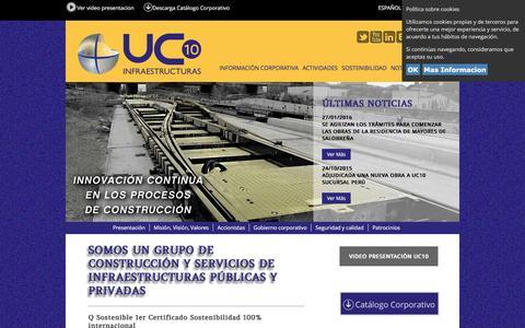Screenshot of Home Page uc10.com - UC10 Infraestructuras - Construcción de obras públicas y civiles - captured March 12, 2016