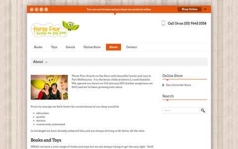 Screenshot of About Page threefour.com.au - About Three Four - Book and Toy Shop in Port Melbourne -Three Four Knock on the Door - captured Oct. 7, 2014