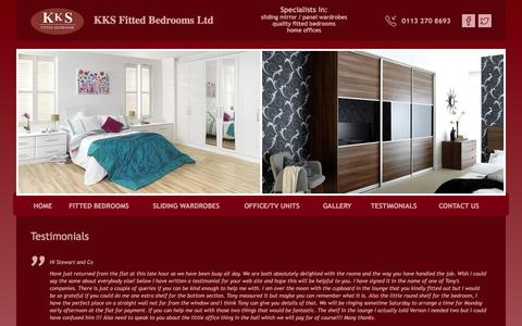 Screenshot of Testimonials Page kksfittedbedrooms.co.uk - Testimonials - KKS Fitted Bedrooms - Sliding Doors, Fitted Bedrooms, Sliding Wardrobes, Sliding Mirror Doors, Leeds, York, Harrogate, Huddersfield, Wakefield, - captured Feb. 12, 2016