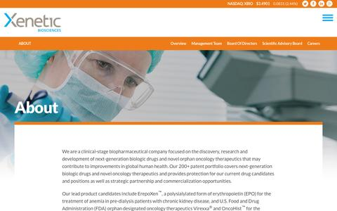 Screenshot of About Page xeneticbio.com - About :: Xenetic Biosciences, Inc. (XBIO) - captured Dec. 6, 2016