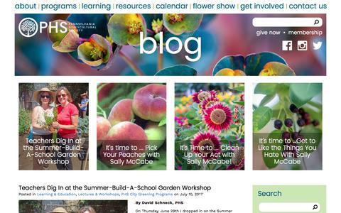 Screenshot of Blog phsonline.org - Blog    Pennsylvania Horticultural Society - captured July 21, 2017