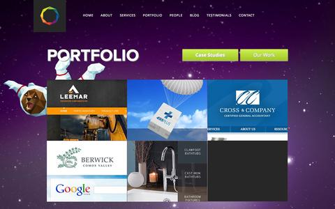 Screenshot of Case Studies Page arraystudios.com - Custom mobile Websites, graphic design,  logos, branding and SEO - captured Oct. 4, 2014