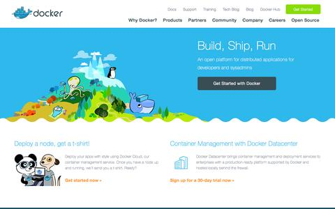 Screenshot of Home Page docker.com - Docker - Build, Ship, and Run Any App, Anywhere - captured March 24, 2016
