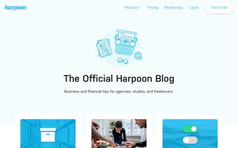 Screenshot of Blog harpoonapp.com - The Harpoon Blog | News, updates, and business tips for agencies, studios, and freelancers - captured Nov. 5, 2019
