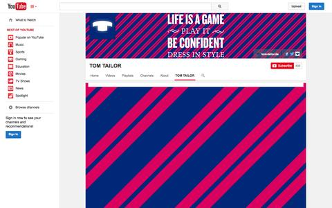Screenshot of YouTube Page youtube.com - TOM TAILOR  - YouTube - captured Oct. 26, 2014