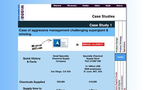 Screenshot of Case Studies Page wiseai.com - Case Studies - captured Oct. 7, 2014