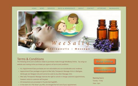 Screenshot of Terms Page weesally.com - Wee Sally Therapeutic Massage - Terms - captured Oct. 26, 2014