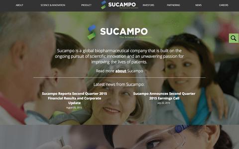 Screenshot of Home Page sucampo.com - Sucampo - captured Aug. 12, 2015