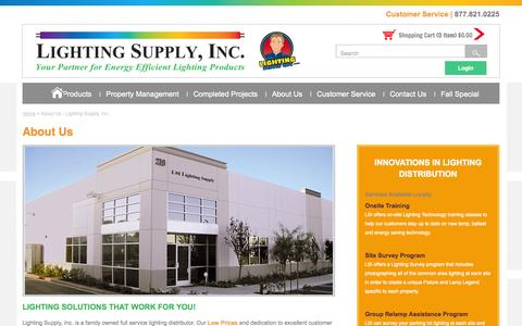 Screenshot of About Page lightingsupplyguy.com - About Us - Lighting Supply, Inc. - captured Oct. 2, 2014