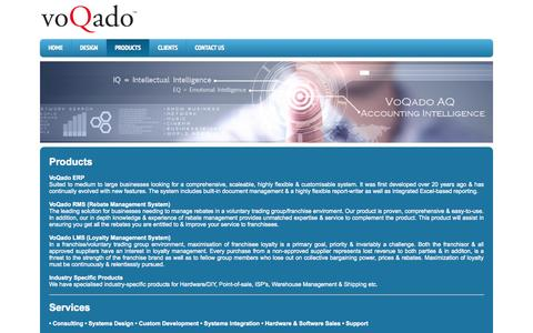 Screenshot of Products Page voqado.co.za - Voqado - Customisable systems & services - captured Aug. 16, 2015