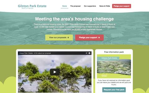 Screenshot of Home Page northharlow.com - Home | Gilston Park Estate North of Harlow - captured Oct. 2, 2014