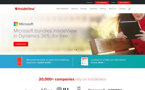 Screenshot of Home Page insideview.com - Targeting, Sales and Marketing Intelligence Software Solutions | InsideView - captured Aug. 3, 2018