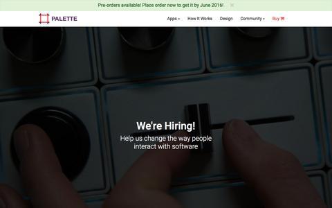 Screenshot of Jobs Page palettegear.com - Palette - Careers - captured Feb. 22, 2016