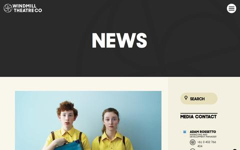 Screenshot of Press Page windmill.org.au - News - Windmill Theatre Co - captured March 26, 2017